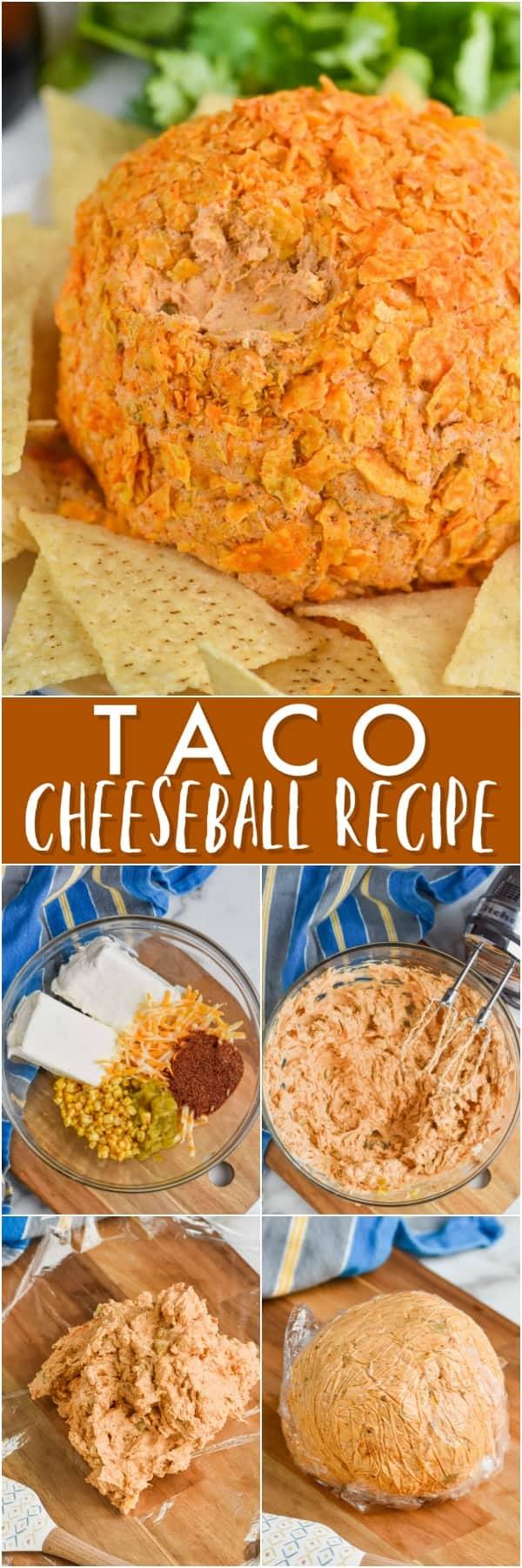 close up of taco cheese ball recipe covered in broken up doritos