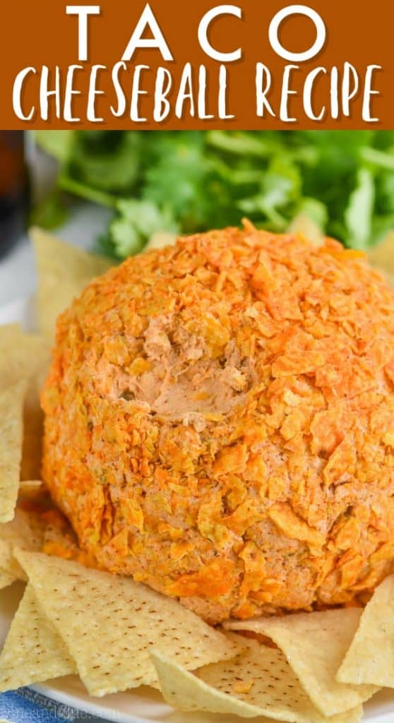 close up of taco cheese ball recipe covered in broken up doritos