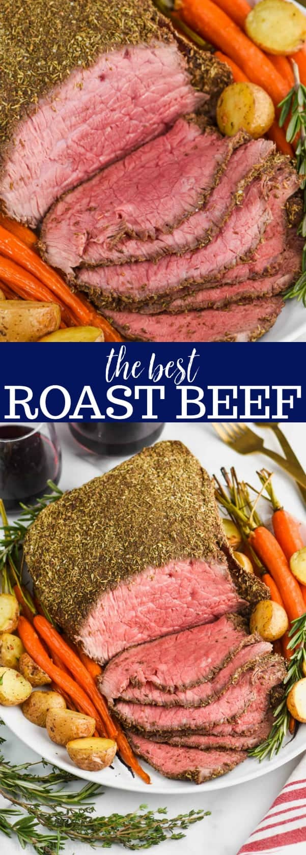 up close view of beef top round roast recipe sliced