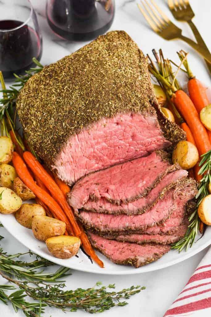 overhead view of sliced top round roast beef recipe
