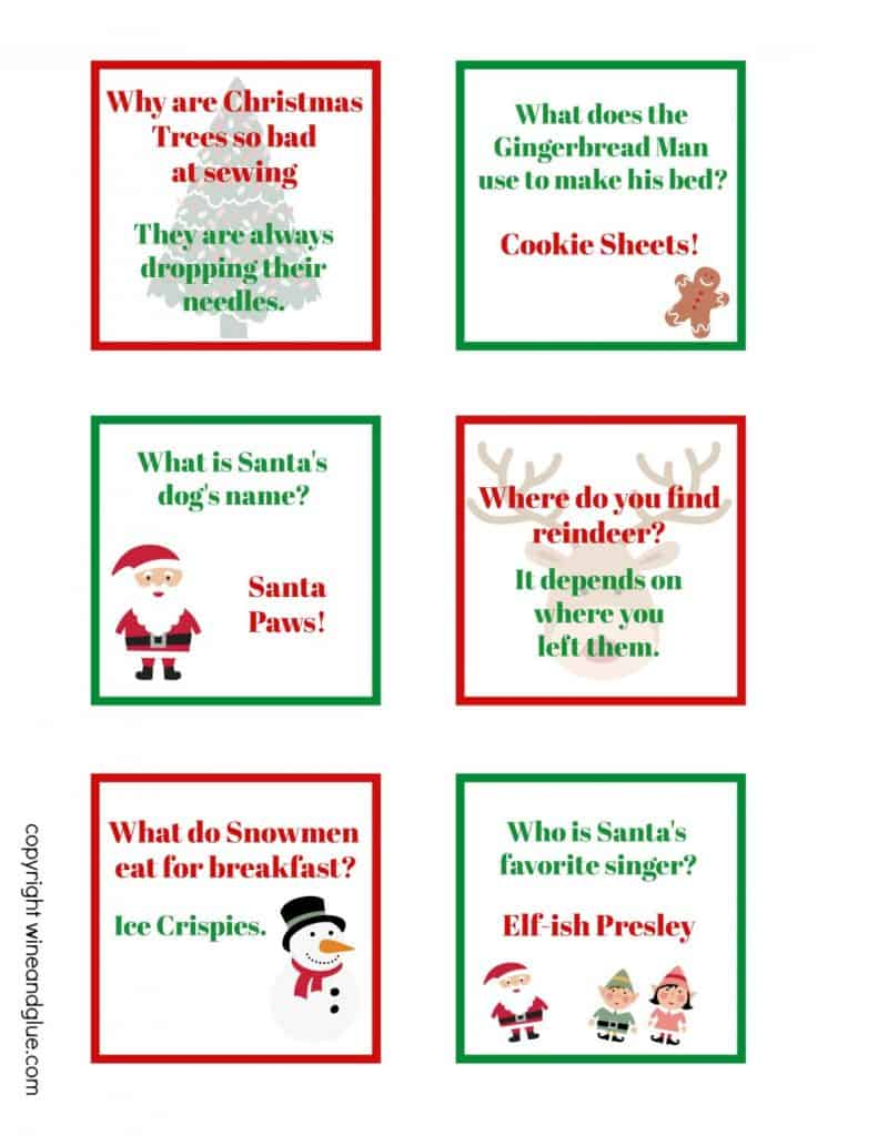 picture regarding Printable Jokes known as Xmas Lunch Box Jokes (Free of charge Printable) - Wine Glue