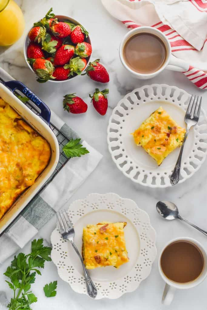 overhead view of breakfast scene with two plates of breakfast casserole recipe