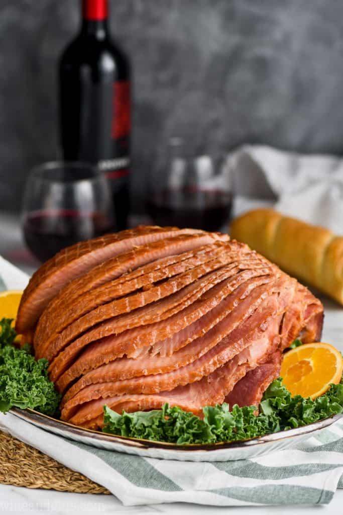 brown sugar glaze ham on a platter