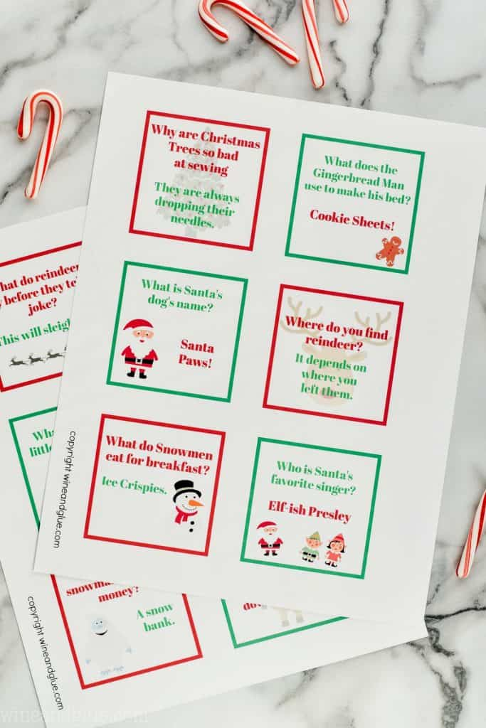 two sheets of kids lunch box jokes perfect for Christmas