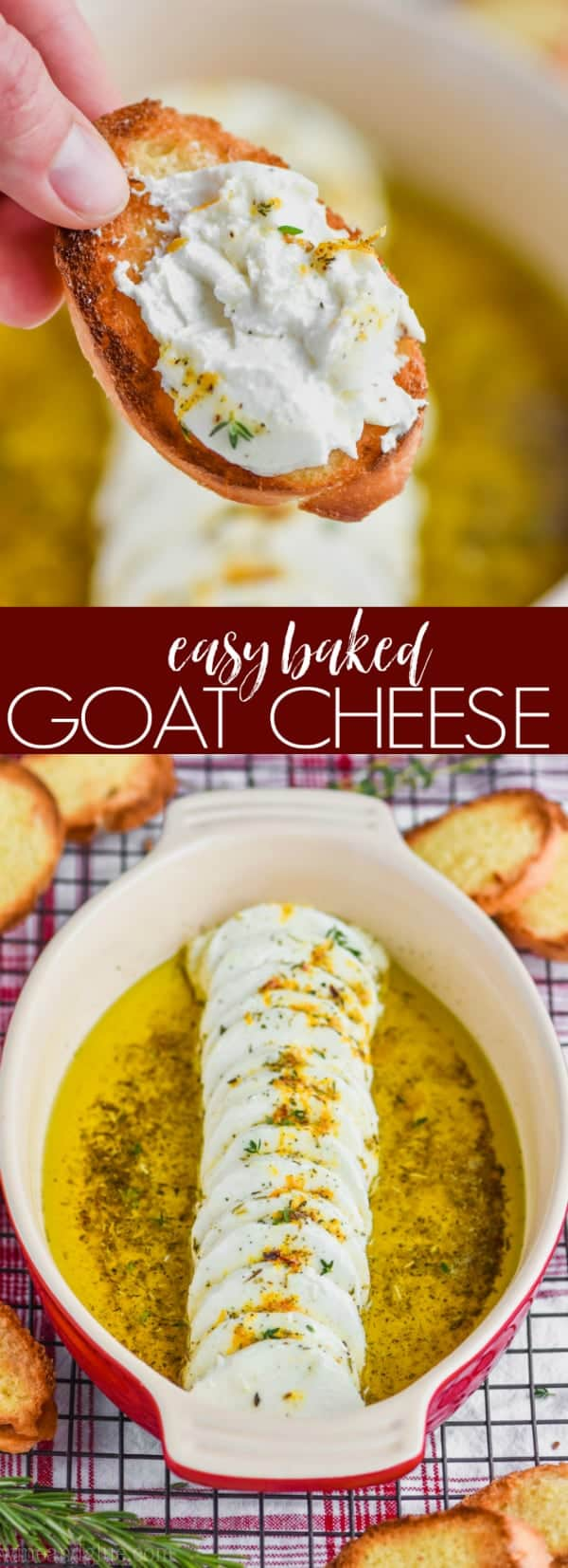 collage of photos of easy baked goat cheese