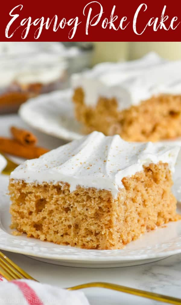 poke cake recipe with cool whip frosting on white plate