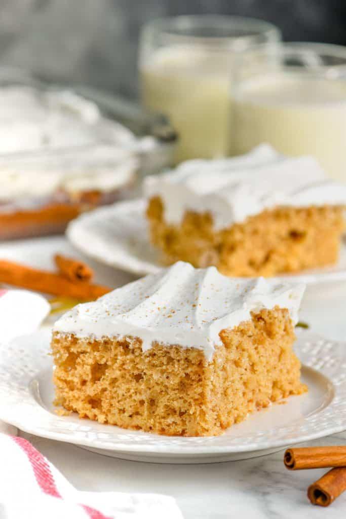 homemade poke cake recipe on a plate