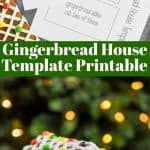 overhead photo of gingerbread house template printable next to gingerbread pieces