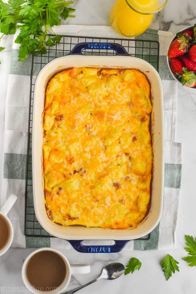 overhead view of overnight breakfast casserole in a casserole dish