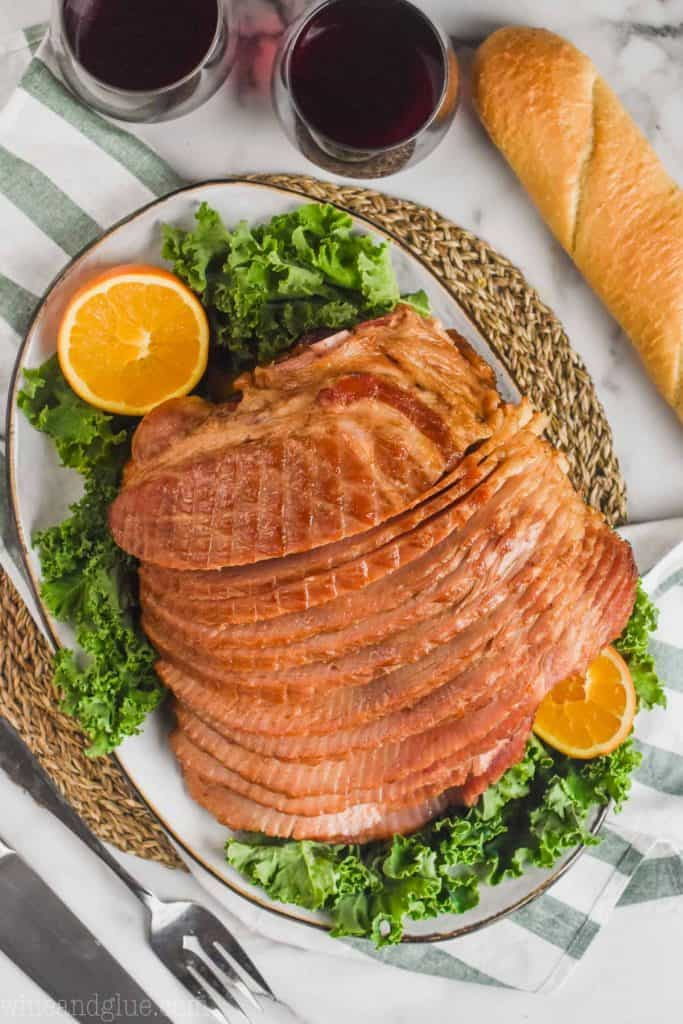overhead view of slow cooker spiral ham on a platter