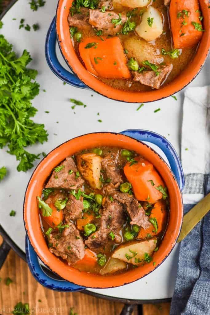 overhead view of instant pot beef stew recipe