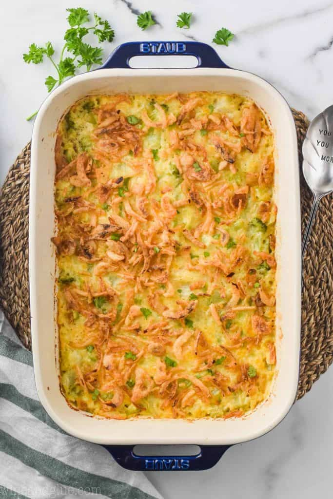 overhead view ooo broccoli cheese rice casserole in a large casserole dish