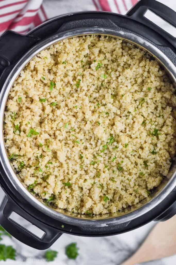 overhead view of instant pot quinoa