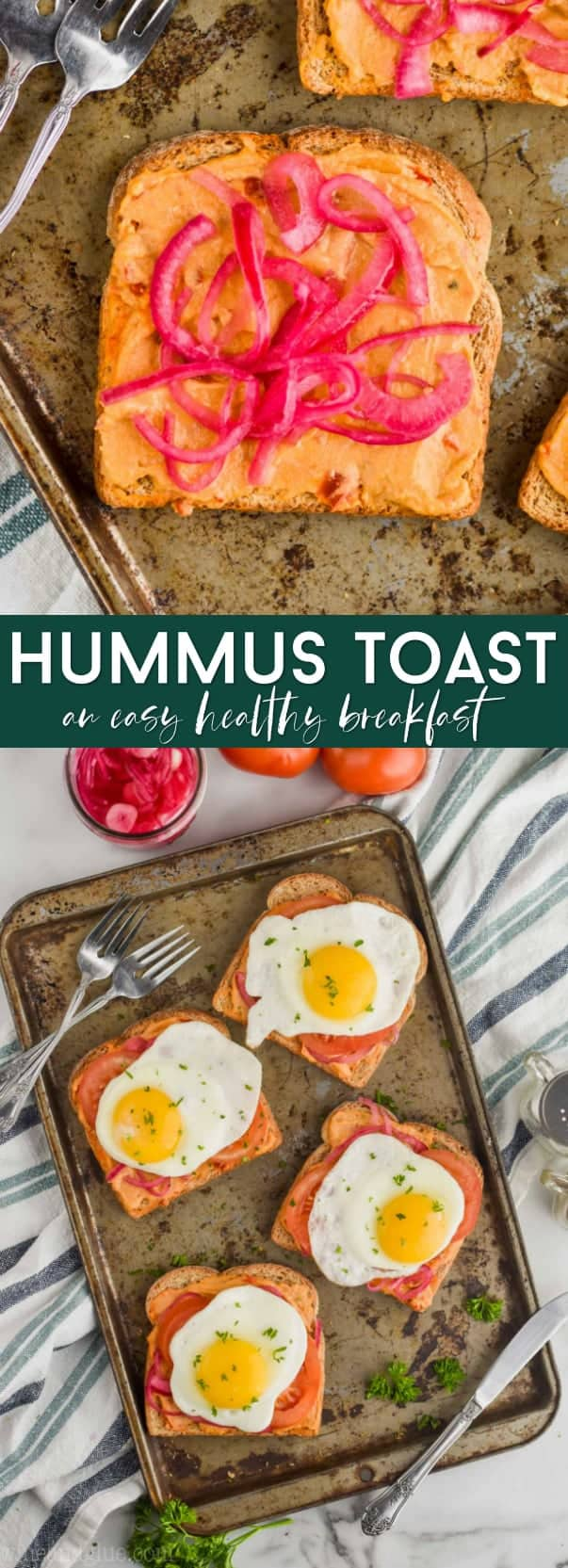 collage of hummus toast recipe