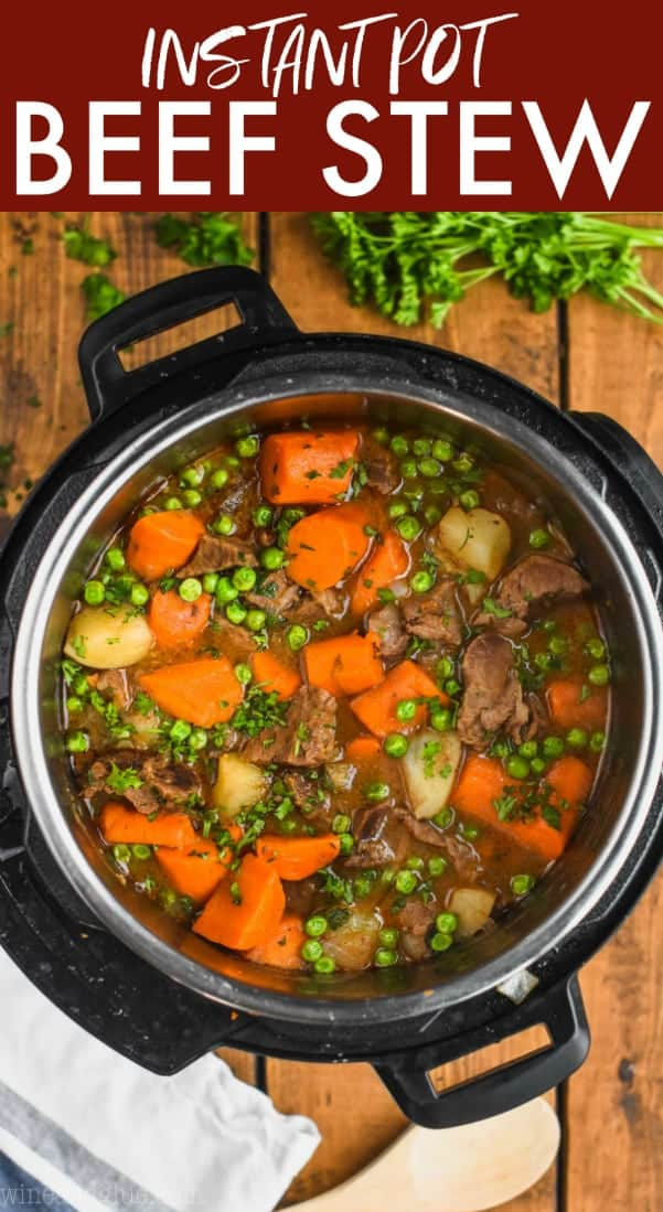 overhead view of beef stew in the instant pot