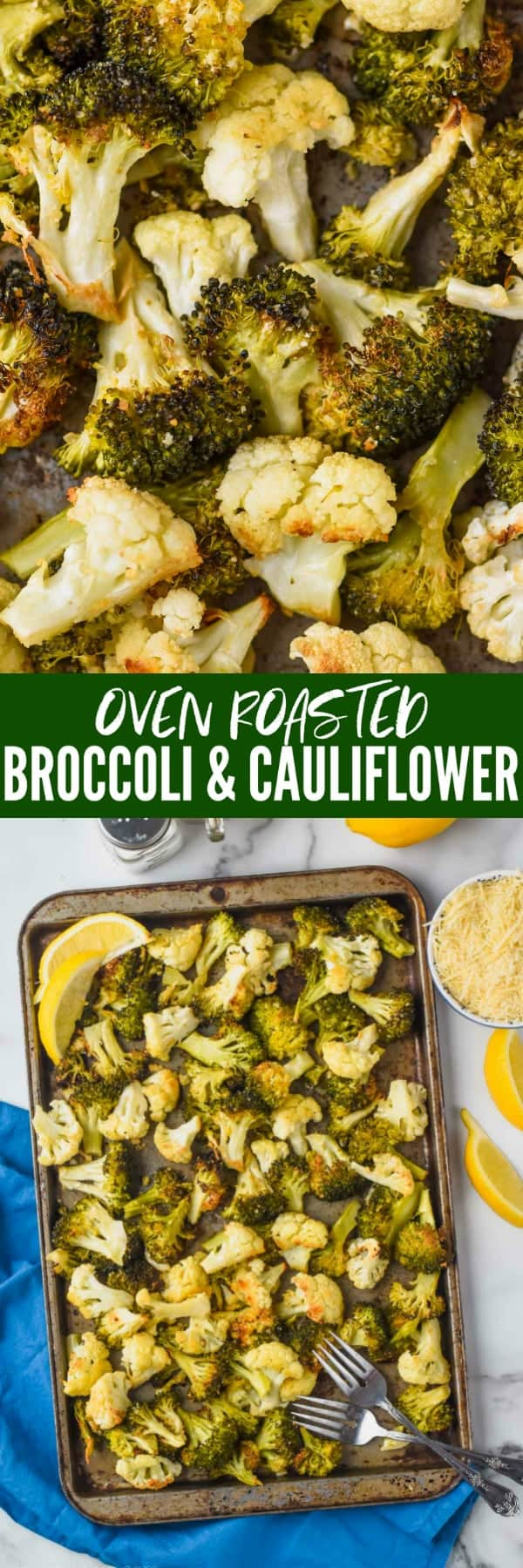 collage of photos of roasted broccoli and cauliflower
