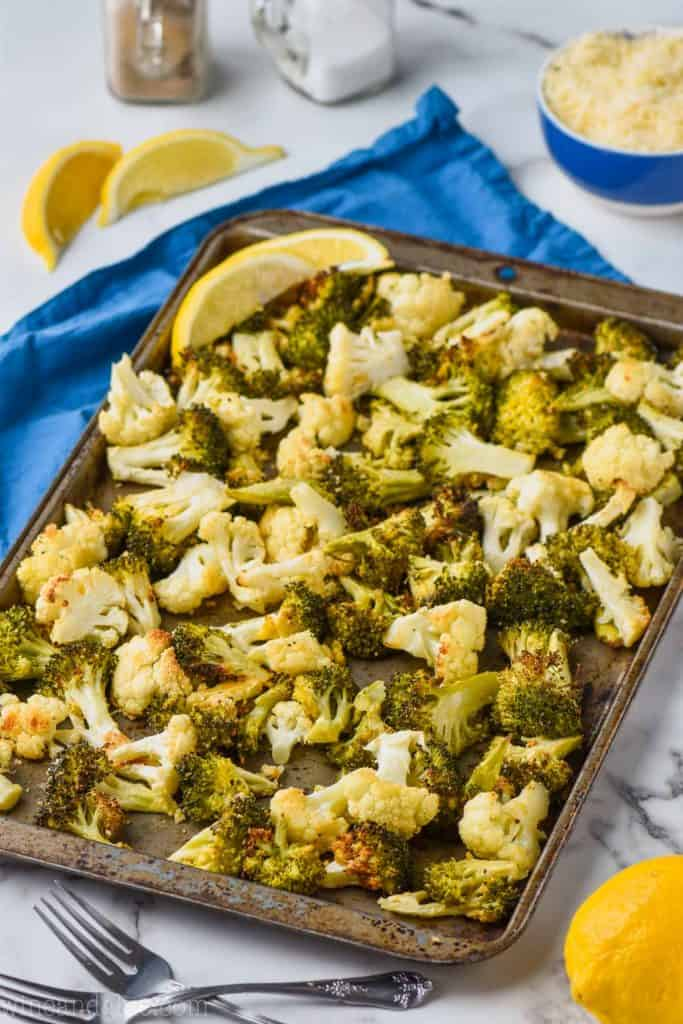 side view of a tray of raosted broccoli cauliflower