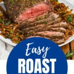 easy top round roast beef recipe garnished with fresh herbs and on a plate of caramelized onions