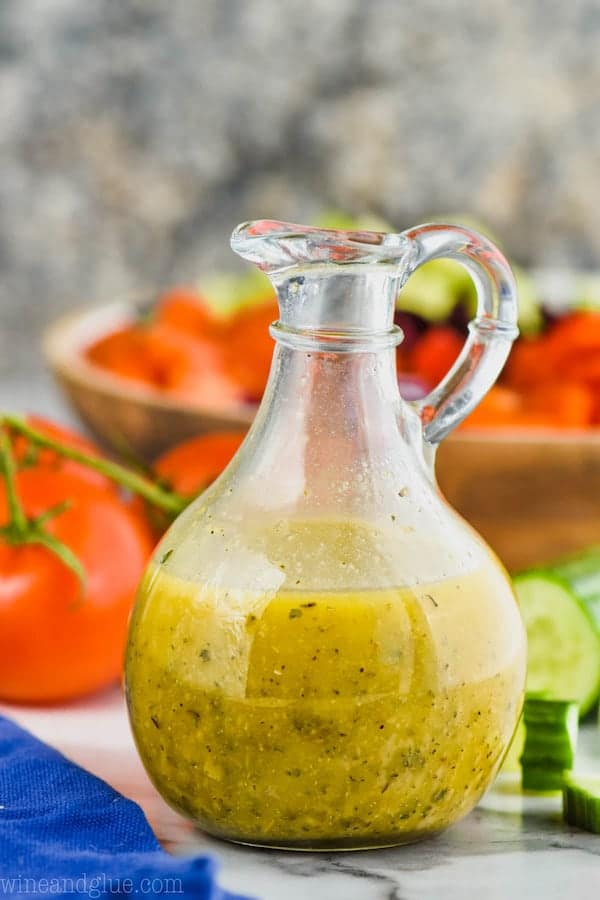 greek salad dressing in a salad dressing container