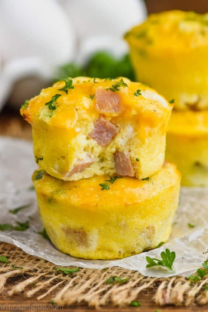 two ham and cheese egg muffins stacked