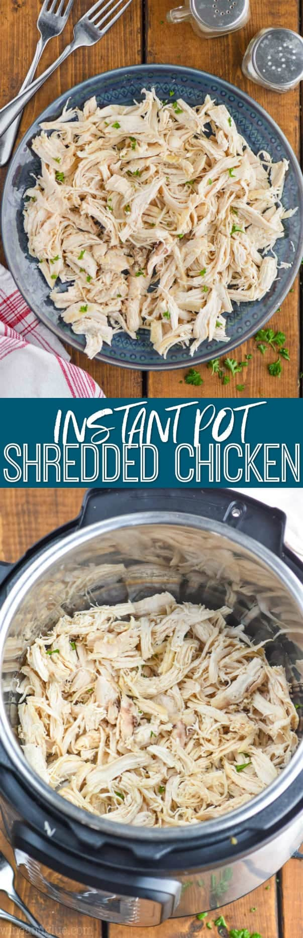 collage of pictures of instant pot shredded chicken recipe