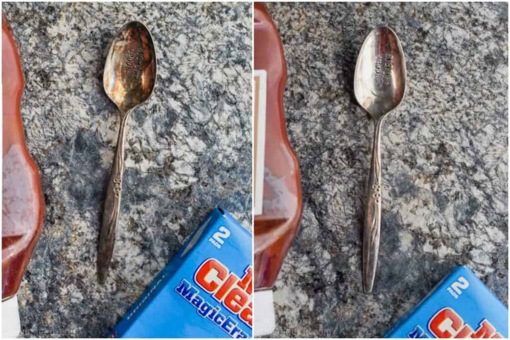 two side by side silver spoons that were cleaned with ketchup