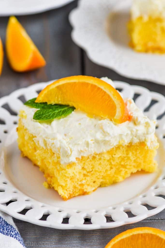 mandarin orange cake recipe on a white plate