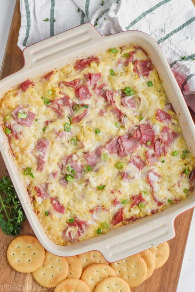 overhead view of reuben dip baked in casserole dish
