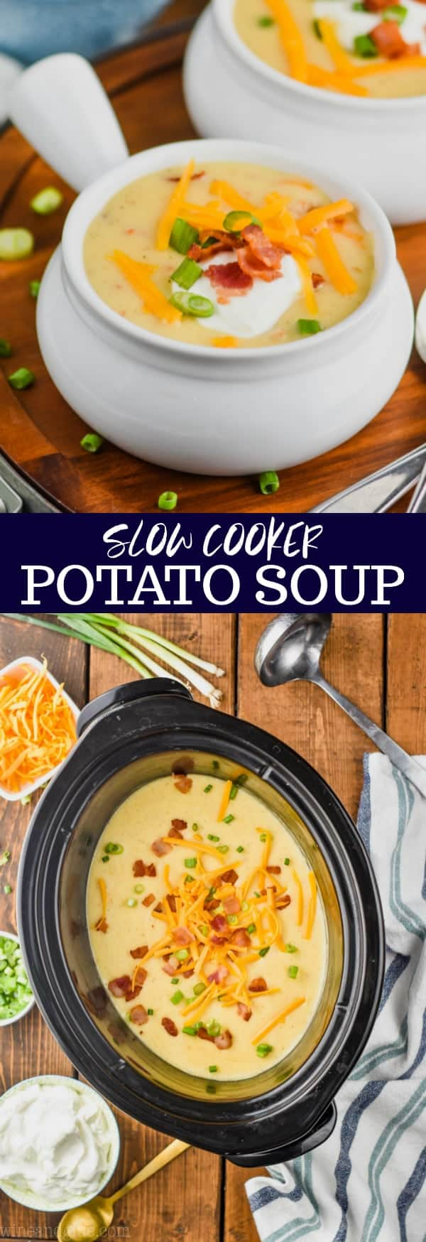 collage of slow cooker potato soup recipe photos