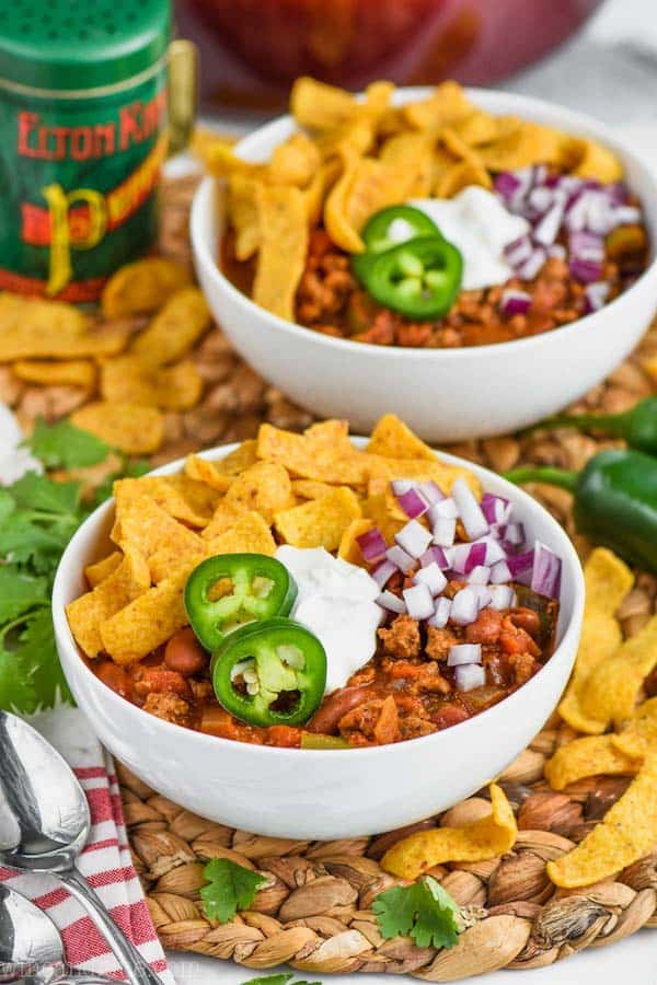 two bowls of ground turkey chili