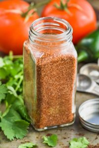 bottle of spice jar with homemade taco seasoning