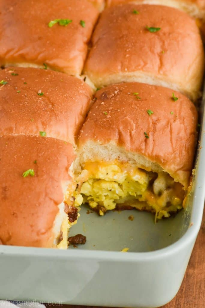 casserole dish filled with breakfast sliders cut into