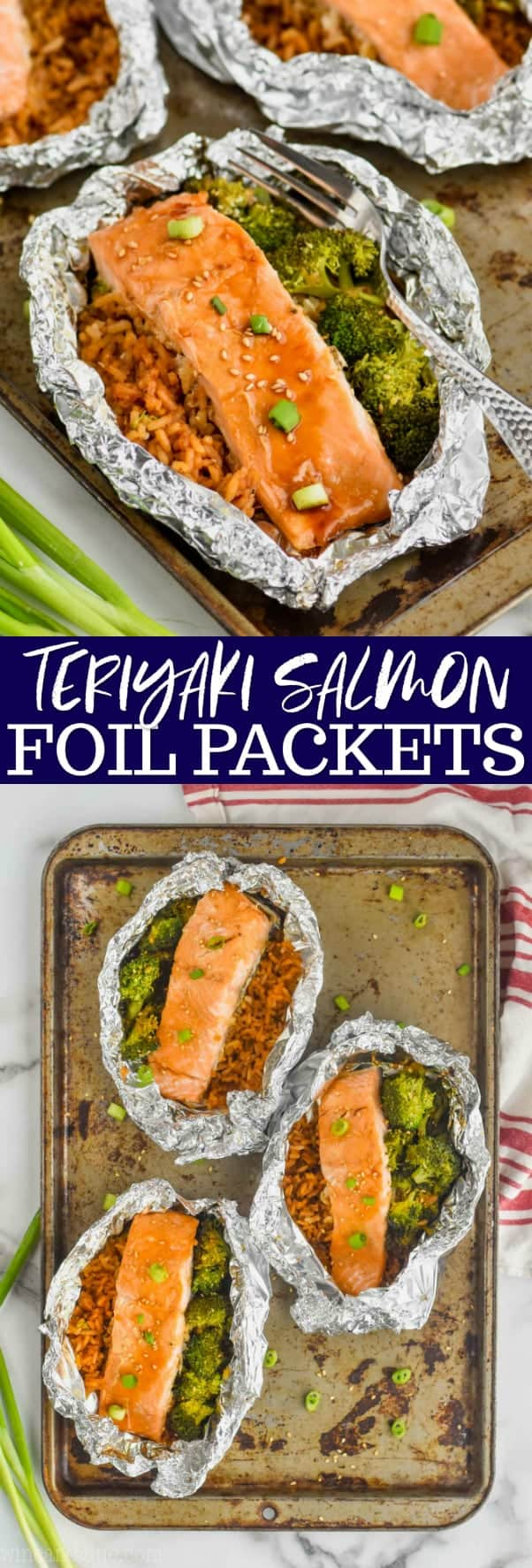 collage of teriyaki salmon foil packets recipe picture