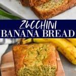 collage of photos of zucchini banana bread recipe
