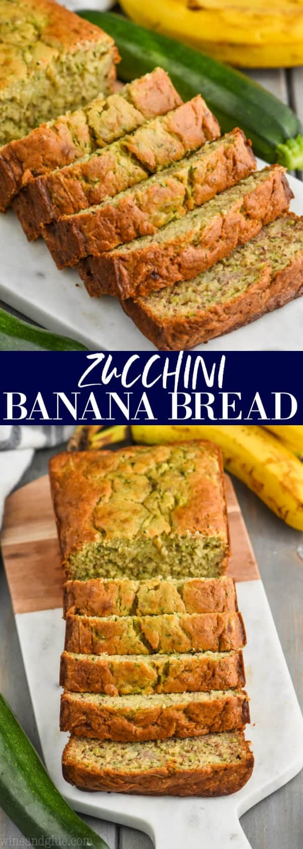collage of photos of zucchini banana bread recipe