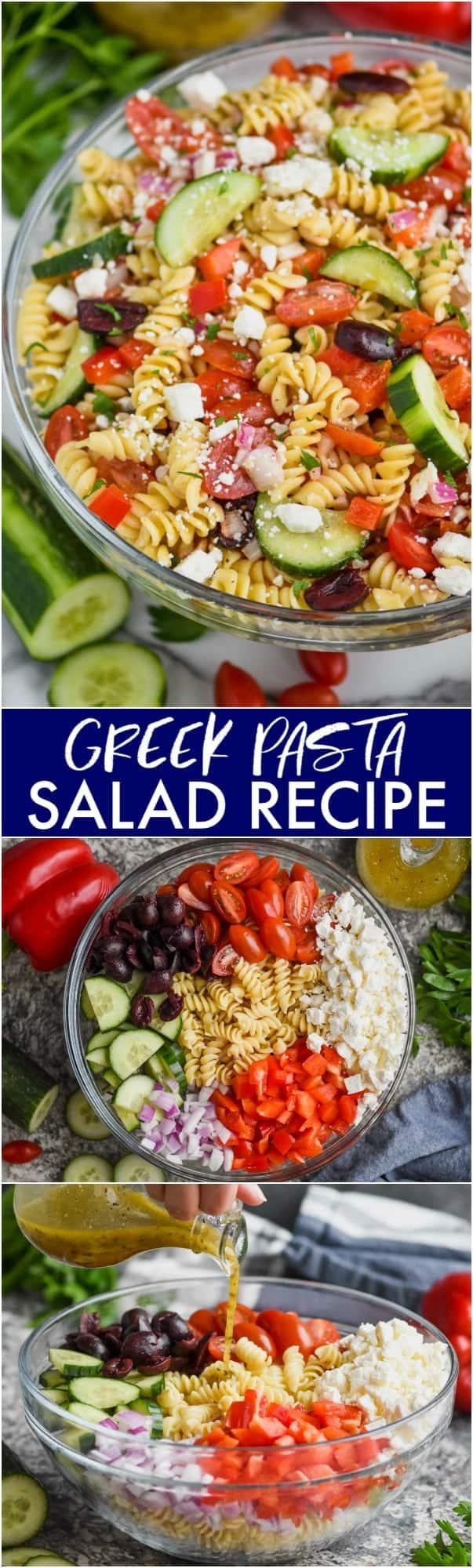 collage of photos of greek pasta salad