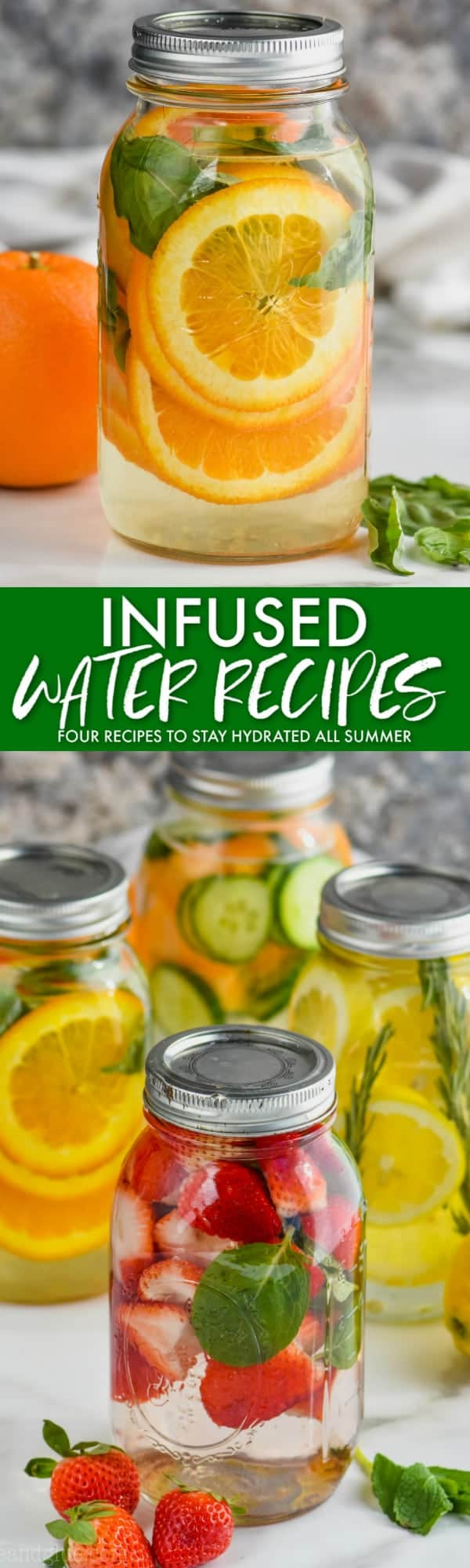 collage of infused water recipes