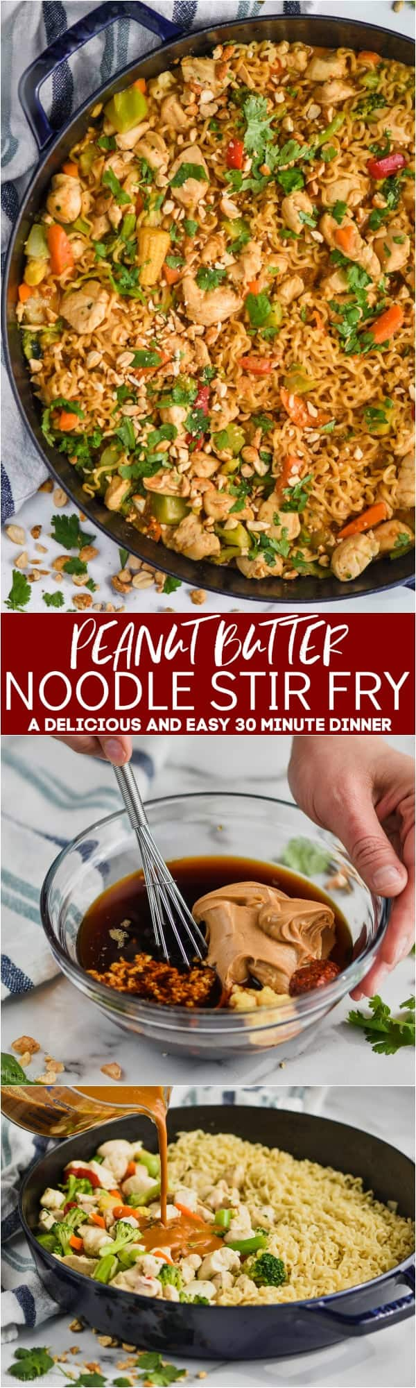 collage of peanut butter stir fry noodles photos