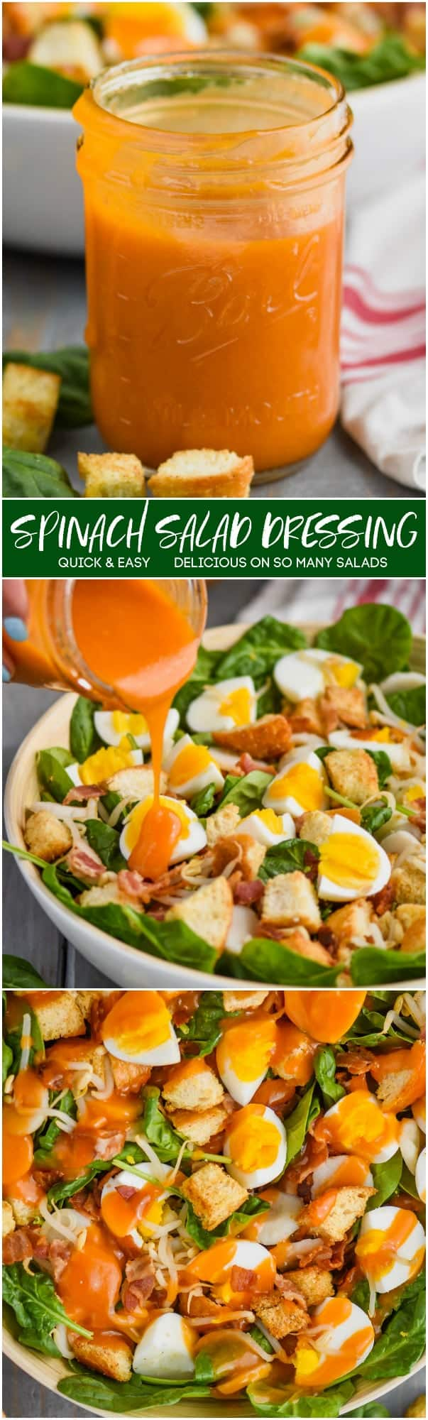 collage of spinach salad dressing pictures