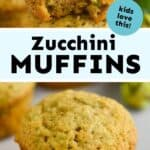 collage of photos of zucchini muffins
