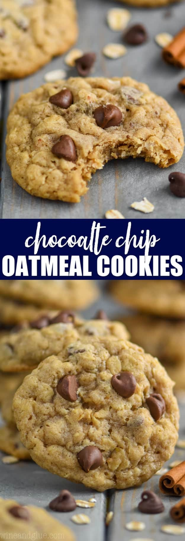 collage of photos of chewy oatmeal chocolate chip cookies