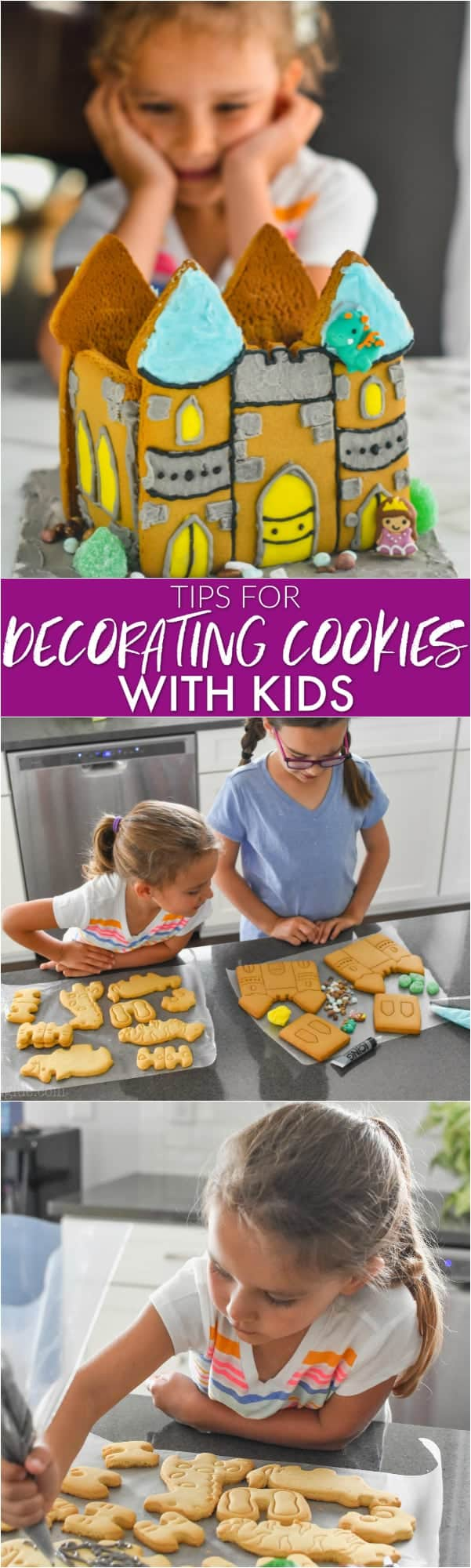 collage of photos of kids decorating cookies