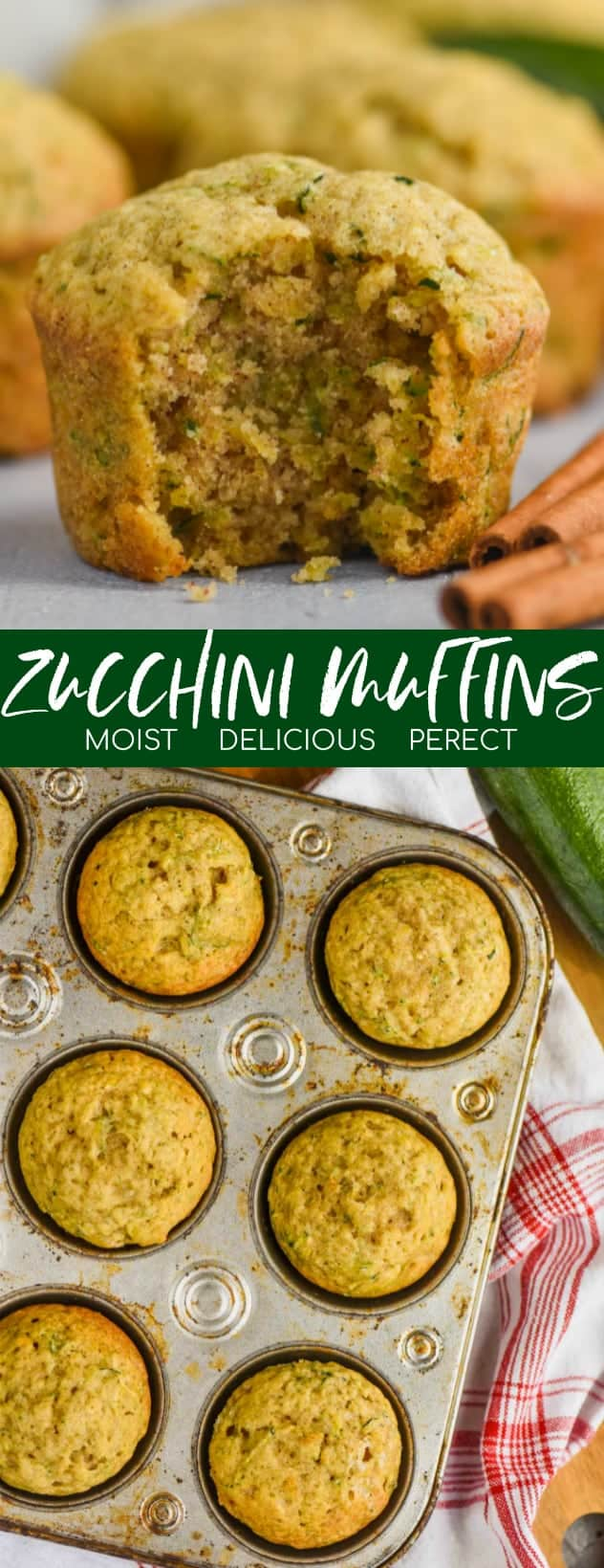 collage of photo of zucchini muffins