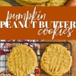 collage of pumpkin peanut butter cookies