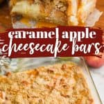 collage of photos of apple cheesecake bars