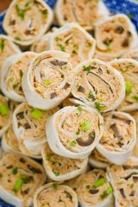 up close overhead view of taco pinwheel recipe