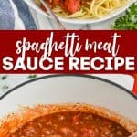 collage of photos of homemade spaghetti meat sauce recipe