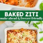 collage of photos of baked ziti recipe