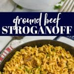 collage of photos of ground beef stroganoff