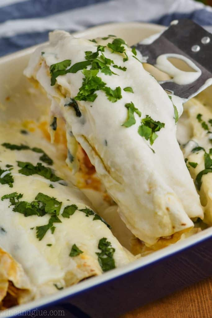 two chicken enchiladas with sour cream sauce being dished out of a casserole dish, garnished with cilantro